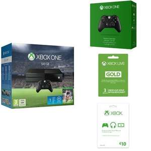 XBOX One + FIFA 16 + 2. Controller + 3 Monate XBL Gold + 10€ XBL Guthaben + 1 Monat EA Access 369€ @ Amazon