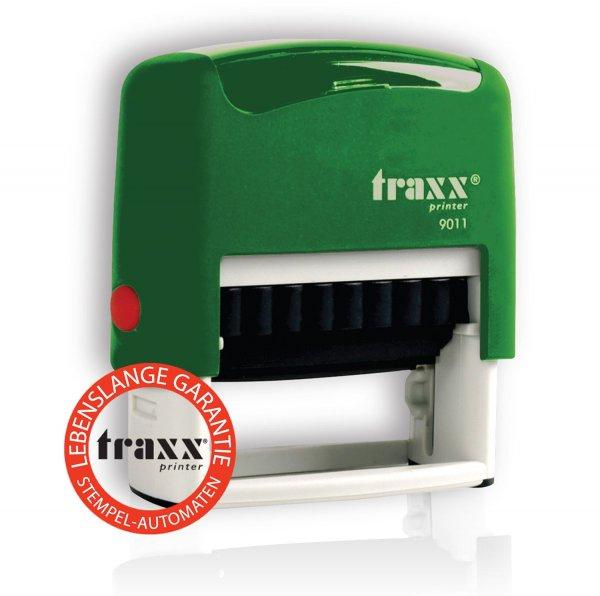 @Amazon : TRAXX 9011 Marken-Stempel 38 x 14mm, 4-zeilig Gehäuse verschiedene Farben zur auswahl , Kissen SCHWARZ für 0,01€ + 3.98€ Versand / Idealo ab 12€