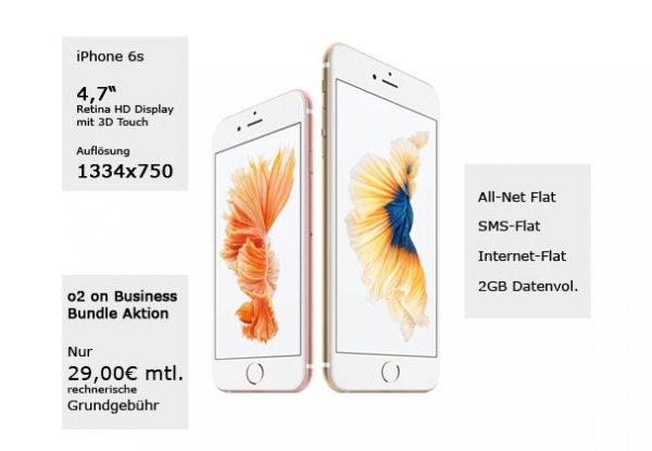 Apple iPhone 6s Aktion mit dem o2 on Business M für rechn. 29,00€ / Monat (Nettopreise)