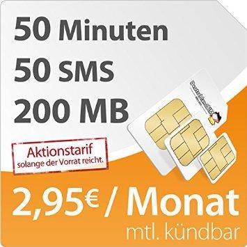 DeutschlandSIM Smart 200 Internetflat (200 MB im o2 Netz), 50 Minuten und 50 SMS, nur 2,95 € mtl. kündbar!