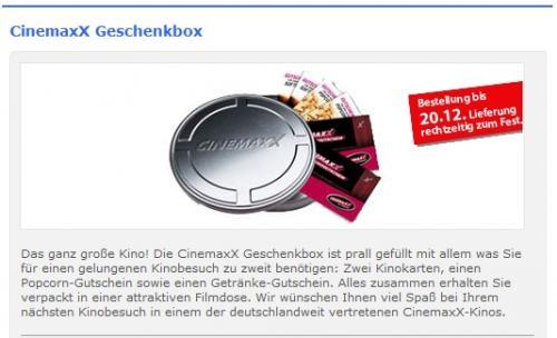 2 Kinotickets + 2 Getränke + 2 Popcorn für Cinemaxx Kinos für 15.000 DKB-Punkte + 5,90 Euro
