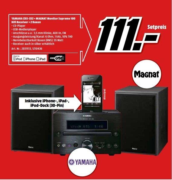[Lokal Mediamarkt Neumarkt ab 17.09] Yamaha CRX-332 Schwarz CD-Receiver iPod-/iPhone-Dock CRX332 + Magnat Monitor Supreme 100 schwarz Paar für 111,-€