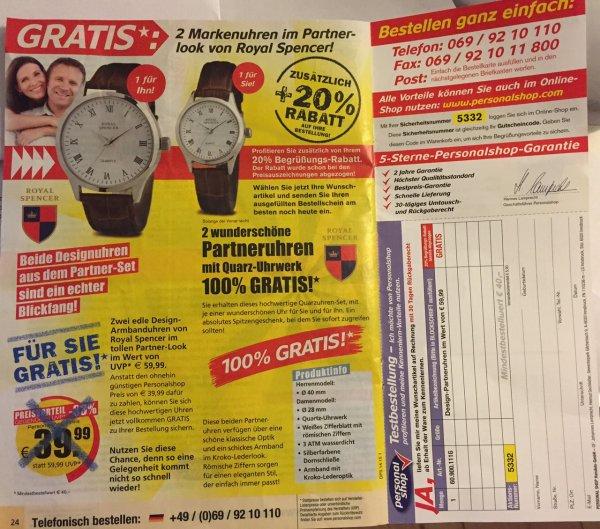 """Zugang zum """"Personalshop"""" + 20% Rabatt + zwei (hässliche) Uhren ab Mindestbestellwert 40€ für lau"""
