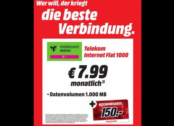 Lokal Media Markt Lüneburg Telekom (mobilcom) 1GB inkl. 150€ Gutschein