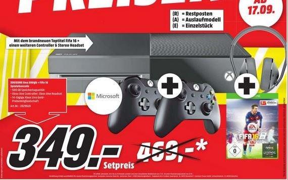 [Lokal] Mediamarkt Erding, Karlsfeld, München XBOX ONE 500GB + 2. Controller + Fifa 16 + Stereo Headset + 14 Tage XBL