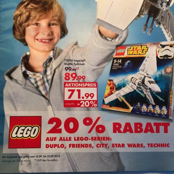 Karstadt: 20 Prozent Rabatt auf Lego der Serien Duplo, Friends, City, Star Wars und Technikx09