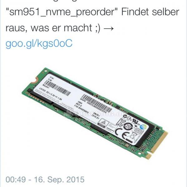 SM951 NVMe 256 GB - 7,5% Ersparnis, Lieferung diese Woche