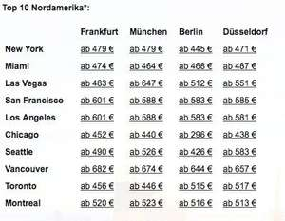 Flüge nach Nordamerika Angebote ab 296 €