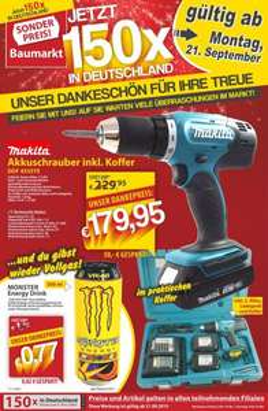 Makita Akkuschrauber DDF453SYE inkl. Koffer  179,95€  Sonderpreis Baumarkt 150x BRD