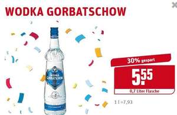 [regional] 0,7l Wodka Gorbatschow, REWE Dortmund, 5,55 €