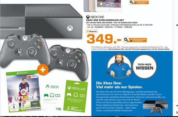 Xbox One + 2. Xbox Controller + FIFA 16 DLC + 3 Monate Xbox Live Gold, 10€ Guthaben für 349 € I Saturn Stuttgart/ Esslingen