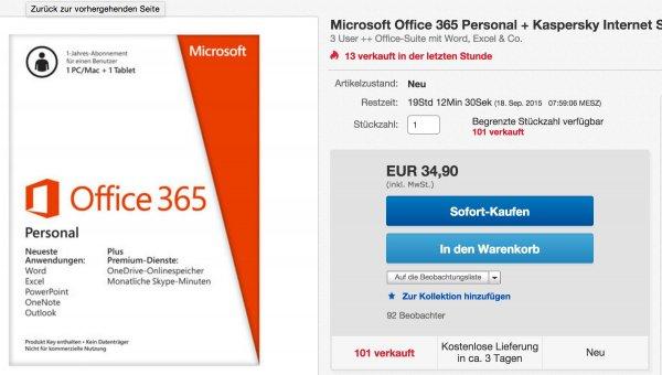 Microsoft Office 365 Personal + Kaspersky Internet Security 2015
