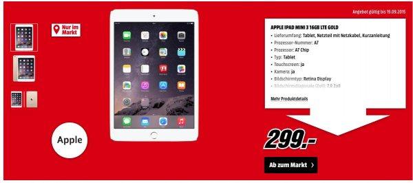 [Lokal Berlin]Ipad Mini 3 16 GB LTE Gold für 299€ bei Mediamarkt-Berlin-Tegel