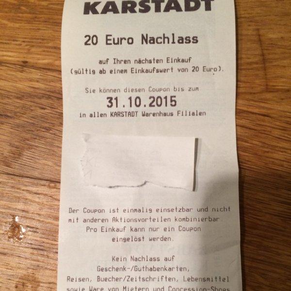 Karstadt: 20€ Euro Gutschein ab 100€ Einkaufswert (kombinierbar mit Aktion: 50% auf bereits reduzierte Sportkleidung und Schuhe)