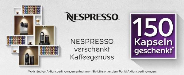 150 Nespresso Kapseln geschenkt beim Kauf einer Nespresso Maschine mit Milchaufschäumfunktion