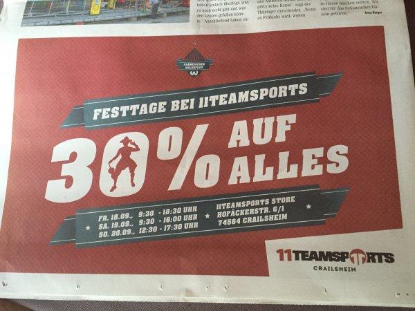 [LOKAL - Crailsheim] 11Teamsports -  30% auf alles vom 18.09 bis 20.09