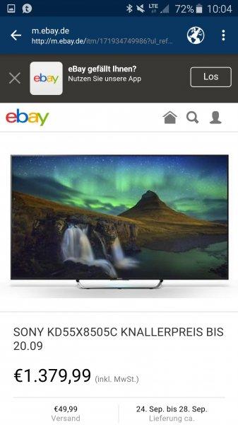 [ebay] SONY KD55X8505C für 1380€ (+49,99 Versand) anstatt 1599