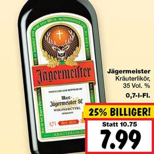 Jägermeister für 7,99€ [Kaufland Duisburg]