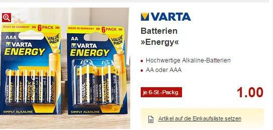 [Kaufland Dallgow-Döberitz] VARTA ENERGY Mignon AA / AAA 6er Value Pack´s ab. 21.09.