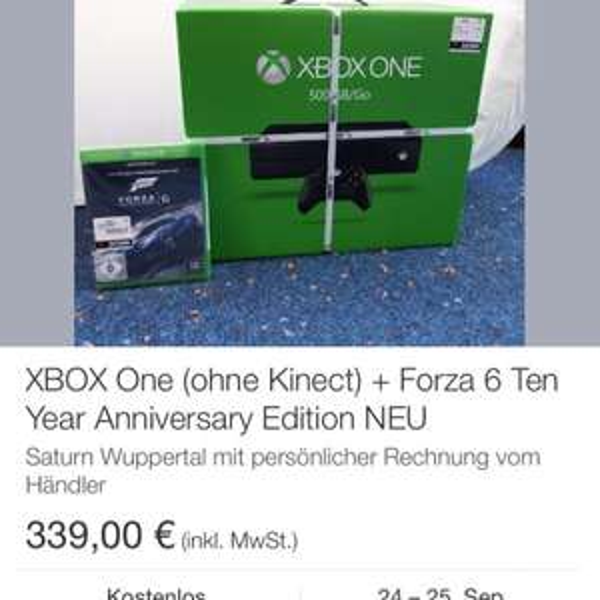 Xbox one 500GB mit Forza 6 339,- eBay Saturn