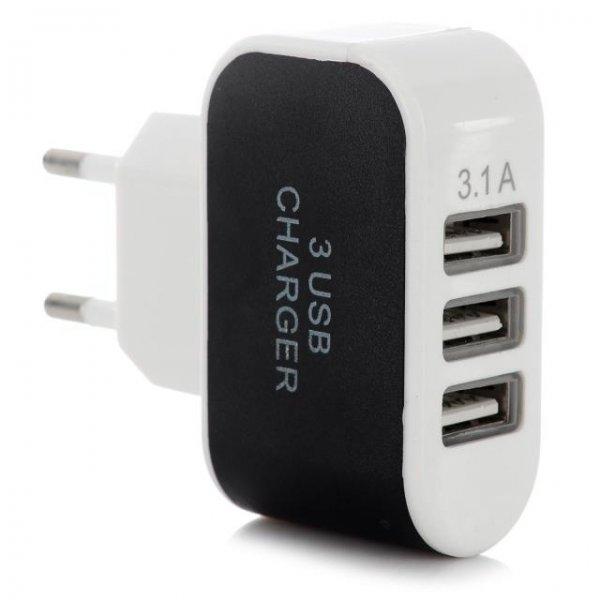 Ladegerät mit 3 x USB 2.0, 5V, 3.1A EU-Stecker, Schnell-Lader (100~240V)