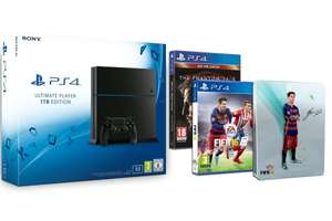 PlayStation 4 Ultimate Player 1TB Edition Chassis C + Fifa 16 + Steelbook FIFA 16 + Metal Gear Solid V ab 389,48 € @Amazon.fr