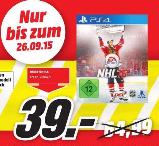 [Lokal Mediamarkt Neuburg an der Donau] NHL 16 - [PlayStation 4]  für nur 39,-€** PS4 in Schwarz oder weiß für 299,-€
