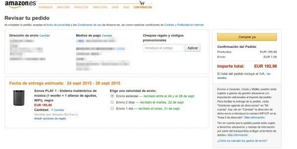 [Amazon.es] Sonos Play 1 Schwarz|182.40€|Idealo (serös): 228,99 €