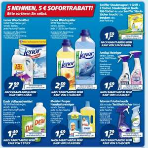 [REAL] - 5 nehmen 5€ Sofortrabatt + 3€ Rabatt-Coupon möglich - Lenor, Dash, Swiffer, Antikal, Meister Propper, Febreze -