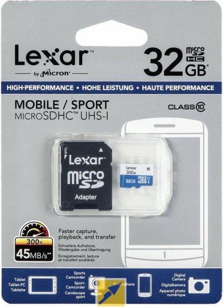 [Redcoon] Lexar microSDHC 32GB Class 10 / UHS 1 (Schreiben: ~30 MB/s) für 6,25€ *** 2x für 11,25€