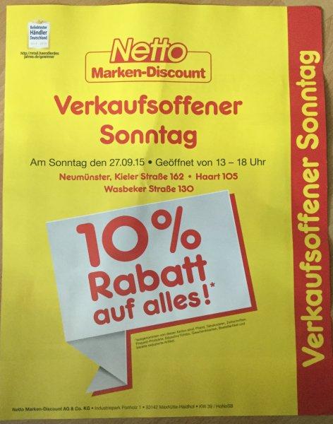 [Netto MD Neumünster] 10% auf alles am Sonntag 27.09