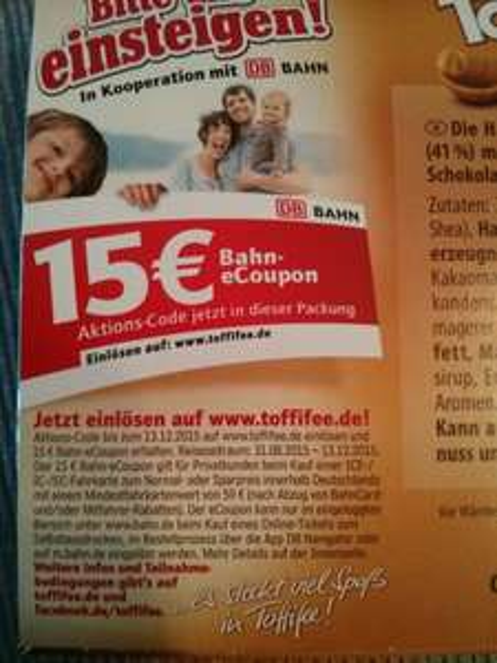 Bahn 15€ eCoupon bei Toffifee