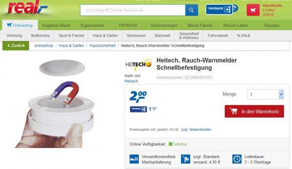 [real] Heitech Schnellbefestigung für Rauchmelder/Warnmelder (Magnethalter) für 2 EUR