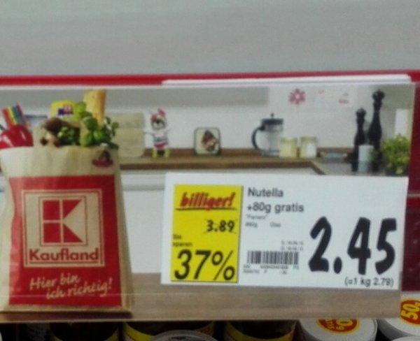 (lokal, Kaufland Künzelsau) Nutella 880g für 2,45€ (2,79€/kg)