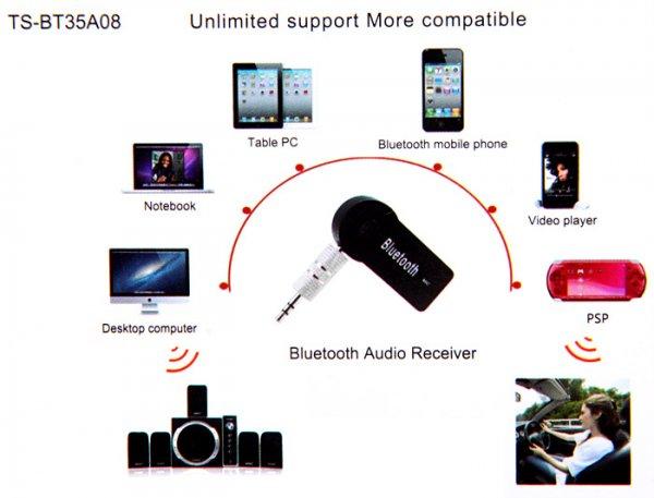 Bluetooth Erweiterung mit 3,5mm Stecker für PC / Autoradio / Heimkino / Smartphone & Co mit eingebautem Mikro @allbuy
