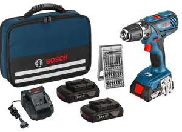 BOSCH Akku-Bohrschrauber GSR 18-2-Li Plus + 3x Akkus 1,5 Ah + Tasche + Bit-Set