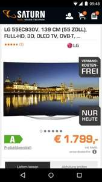 "[Saturn Online nur Heute] LG EC930V (55"", OLED, Full HD, Triple Tuner, WLAN, 4x HDMI, MagicRemote 1.794,00 €"