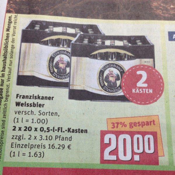 [Rewe Center - Lokal? Schwandorf] - Franziskaner Weißbier 2 Kästen 20€