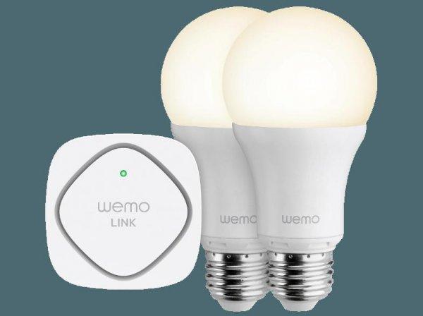 [MediaMarkt online] BELKIN WeMo LED Lighting Starter Set (2x LED und Basisstation, versandkostenfrei) für 55€. Vergleichbar zu Philips HUE/LUX, OSRAM Lightify. Per Handy-App von überall aus steuerbar