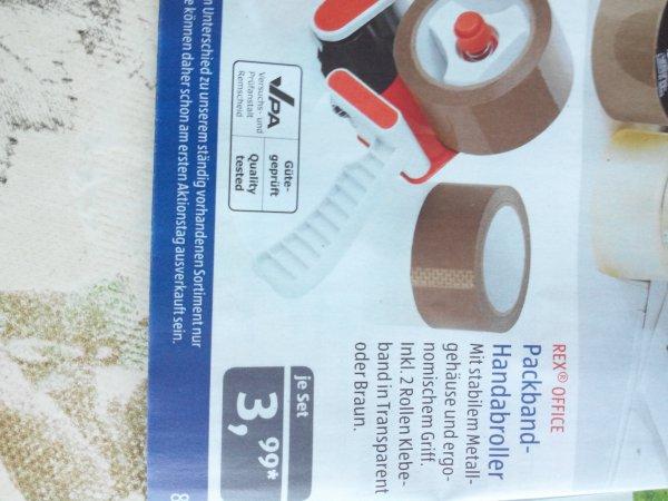 Aldi Süd Packband Handabroller inkl. 2 Rollen ( oder 3 Rollen ohne Abroller für 2,99€)