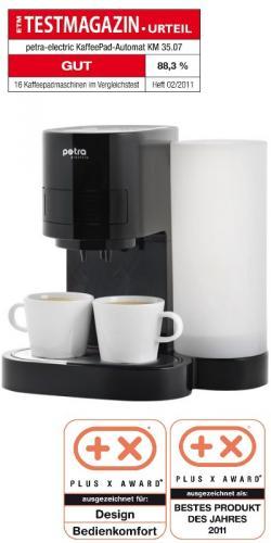 Kaffeepadmaschine Petra KM 35.07 schwarz/weiß 34,74 Euro bei Amazon