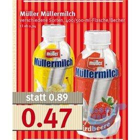 [Combi, Jibi, Minipreis] Müllermilch, div. Sorten, 400/500ml Flasche/Becher