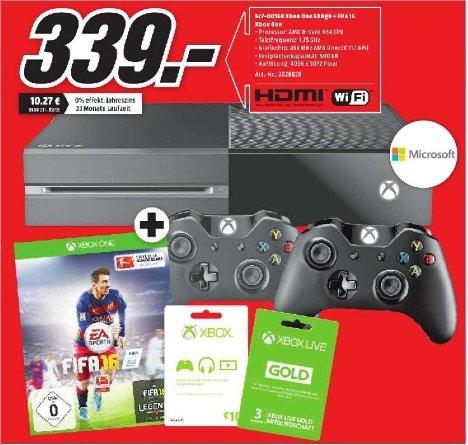 [Lokal Mediamarkt Donauwörth]  Xbox One 500GB+FIFA 16+1 Monat EA Access gratis+2. Wireless Controller+3 Monate Gold-Mitgliedschaft+10 Euro Xbox Live Guthabenkarte für 339,-€