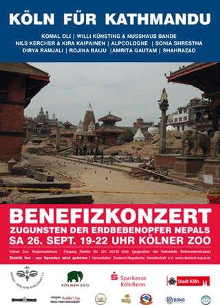 """Köln :  Benefizkonzert am 26.9.2015 - """"Köln für Kathmandu"""" um 19 Uhr im kölner Zoo - Eintritt frei"""