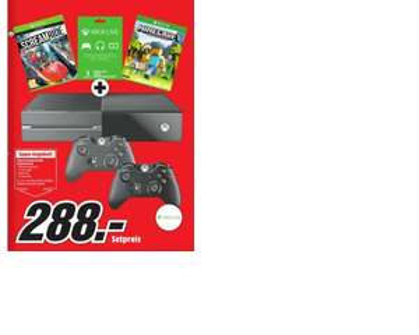 [LOKAL Media Markt Wien Stadlau] Xbox One Mega Bundle 500 GB + 2. Controller + Minecraft + Screamride + 3 Monate Xbox Live Gold für 288,- €