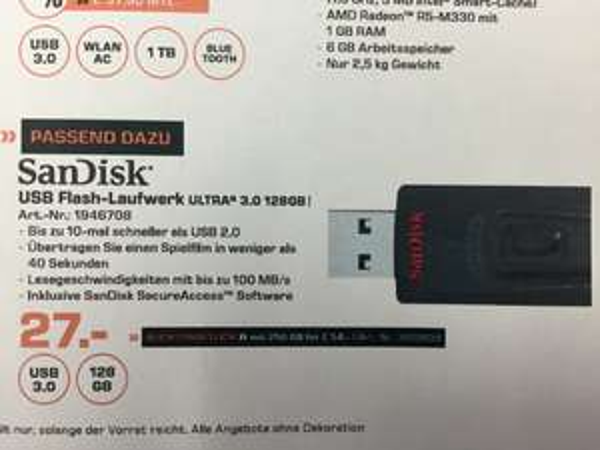 (Lokal Saturn Berlin/Potsdam) Sandisk Ultra USB 3.0 Stick mit 256GB für 54 Euro