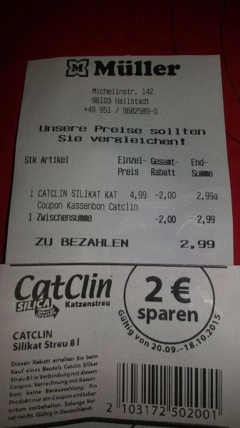 Müller: Katzenstreu Catclin 8 Liter, Silikatkatzenstreu für 2,99 Euro
