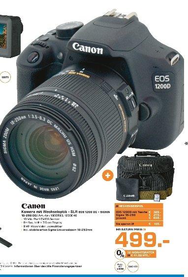 [Lokal Saturn Märkte Berlin] Canon EOS 1200D + Sigma 18-250mm DC Makro OS+ Kameratasche + 8GB Speicherkarte für 499,-€