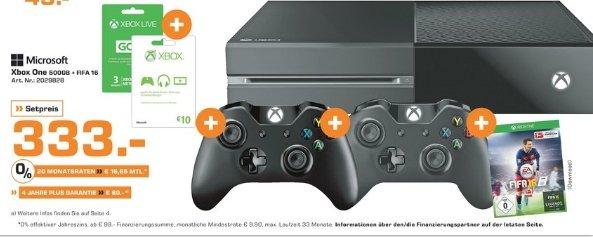 [Lokal Saturn Dortmund]  Xbox One 500GB+FIFA 16+1 Monat EA Access gratis+2. Wireless Controller+3 Monate Gold-Mitgliedschaft+10 Euro Xbox Live Guthabenkarte für 333,-€