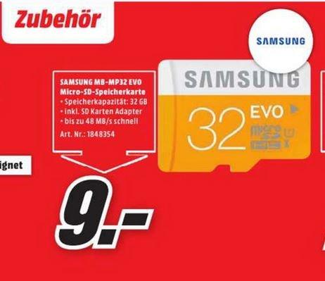 [MM Berlin}  Samsung microSDHC EVO 32GB Class 10 inkl. Adapter